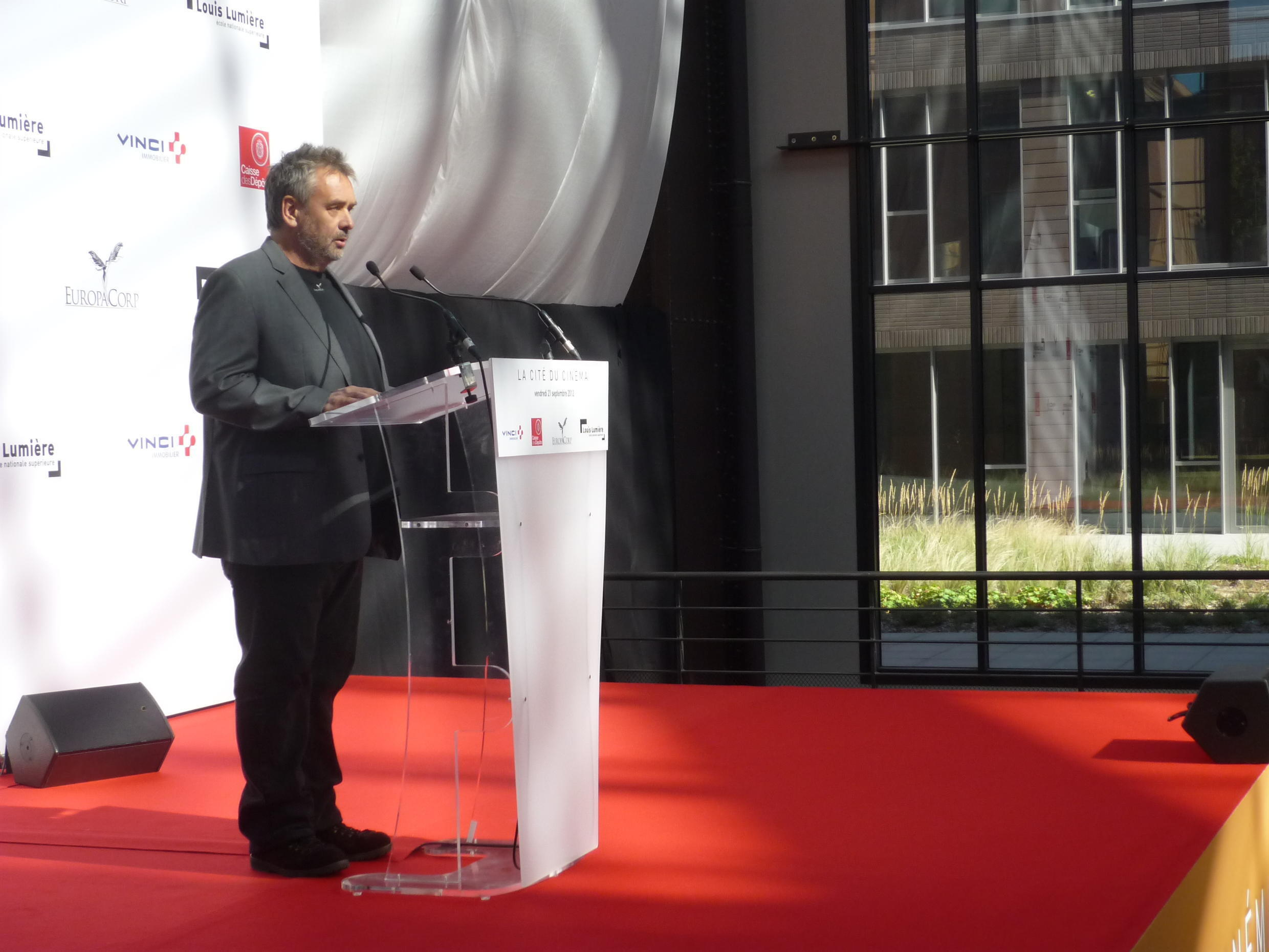 Luc Besson attends the inauguration of the Cité du Cinema in 2012.