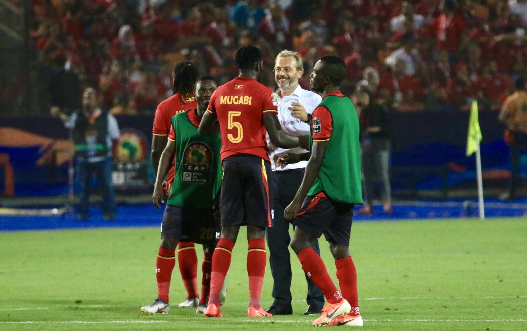 Man with a plan: Sébastien Desabre (white shirt) has steered Uganda to the knockout stages at the Africa Cup of Nations for the first time in 41 years.