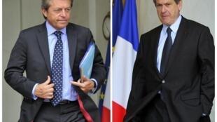 Christian Blanc (à direita), secretário de Estado para o Desenvolvimento e Alain Joyandet (à esq.), secretário de Estado responsável pela Cooperação.