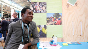 Le jeune éco-entrepreneur congolais Murhula Zigabe au Forum de Paris sur la paix, le 13 novembre 2018.