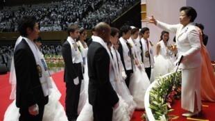 Han Hak-ja, veuve du révérend Moon, lors du mariage de masse du 17 février 2013 à Gapyeong.
