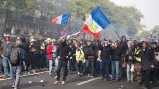 Des manifestants lors du traditionnel défilé du 1er-Mai 2019.