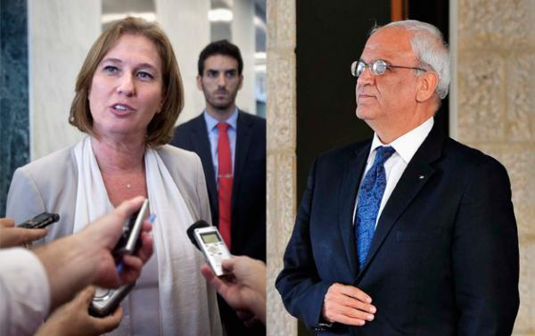 Fotomontagem da ministra israelense da Justiça, Tzipi Livni, e o negociador palestino Saëb Erakat.
