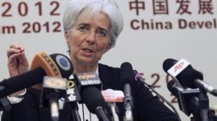A diretora-geral do FMI, Christine Lagarde, em entrevista coletiva na China.