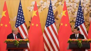 (Photo d'illustration) Le président Chinois Xi Jinping et le président américain Donald Trump lors d'une visite d'État de ce dernier à Pékin.