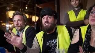 French singer Francis Lalanne (C) leader of the Alliance Jaune (Yellow Vest) campaign group participating in the European Parliamentary elections.