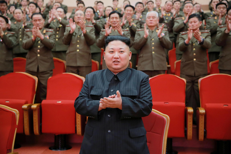 Lãnh đạo Bắc Triều Tiên Kim Jong Un. Ảnh chụp tại Nhà Hát Nhân Dân, Bình Nhưỡng, ngày 23/02/2017.