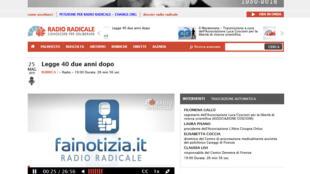 Capture d'écran de la page d'accueil du site web de Radio radicale en Italie.