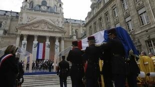 The coffins were put on show in front of the Sorbonne university earlier in the week before being taken to the Panthéon