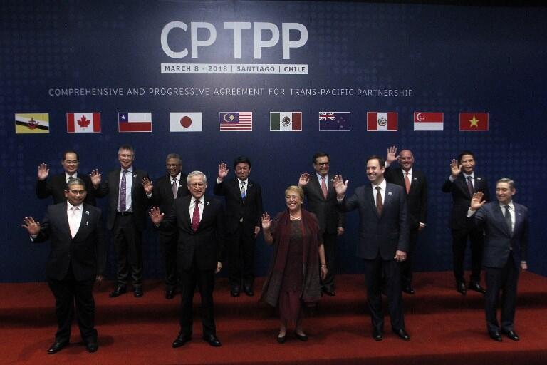 11国代表在智利圣地亚哥签署了跨太平洋伙伴关系全面进步协定,即没有美国的CPTPP2018年3月18日,