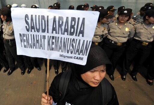 En Indonésie (photo) comme au Sri Lanka, les manifestations contre l'exécution de domestiques en Arabie Saoudite sont fréquentes.