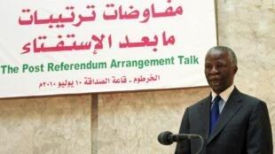 Concernant l'éventuelle indépendance du Sud-Soudan, Thabo Mbeki, le facilitateur de l'Union africaine ne joue que le rôle de conseiller dans ces discussions directes à Karthoum, le 10 juillet 2010.