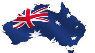 图为澳大利亚国旗地图标识
