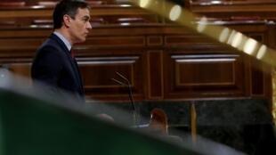 Le Premier ministre Pedro Sanchez lors d'une session au Parlement espagnol le 20 mai 2020.