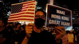 港民参加集会,呼吁美国国会众议院通过《香港人权与民主法案》。