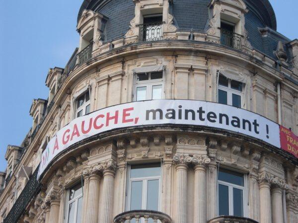 Election banner in Montpellier