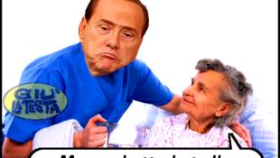 Os cartunistas fizeram piada na internet durante o período em que Berlusconi frequentou a clínica geriátrica.