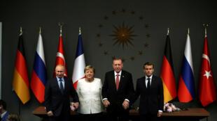 نشست رهبران چهار کشور فرانسه، روسیه، آلمان و ترکیه در استانبول روز شنبه در پایان حدود سه ساعت مذاکره بدون اعلام تصمیمات ملموسی به پایان رسید.