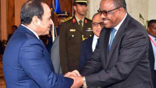 Waziri Mkuu  Hailemariam Desalegn akiwa na rais wa Misri Abdel Fattah al-Sisi jijini Addis Ababa Januari 18 2018
