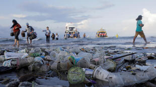 Plastic waste brought in with the ocean's tides.