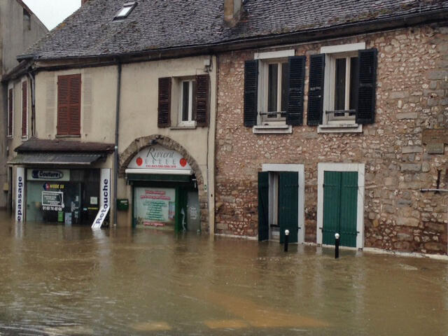 Vista de la inundación en Moret-sur-Loing