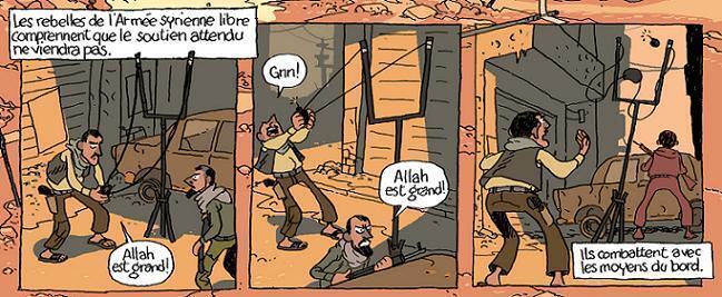 Extrait du reportage: des rebelles bombardent leurs ennemis avec une catapulte... scène tirée d'une vidéo.