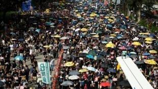 图为香港反送中2019年7月21日再上街大游行