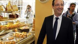 O presidente francês François Hollande em uma boulangerie de Tulle.