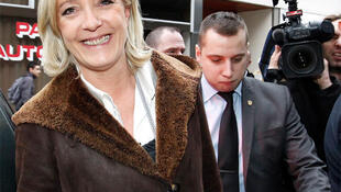 Marine Le Pen, France's far-right National Front political party vice-president, arrives at the conference in Tours