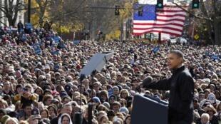 Obama faz parada em Concord, em meio a circuito de 8 mil quilômetros em 20 horas.