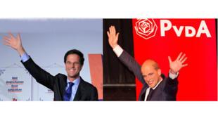 De g. à d. : Mark Rutte, Premier ministre néerlandais sortant et chef de file du Parti libéral et Diederik Samsom du Parti travailliste.
