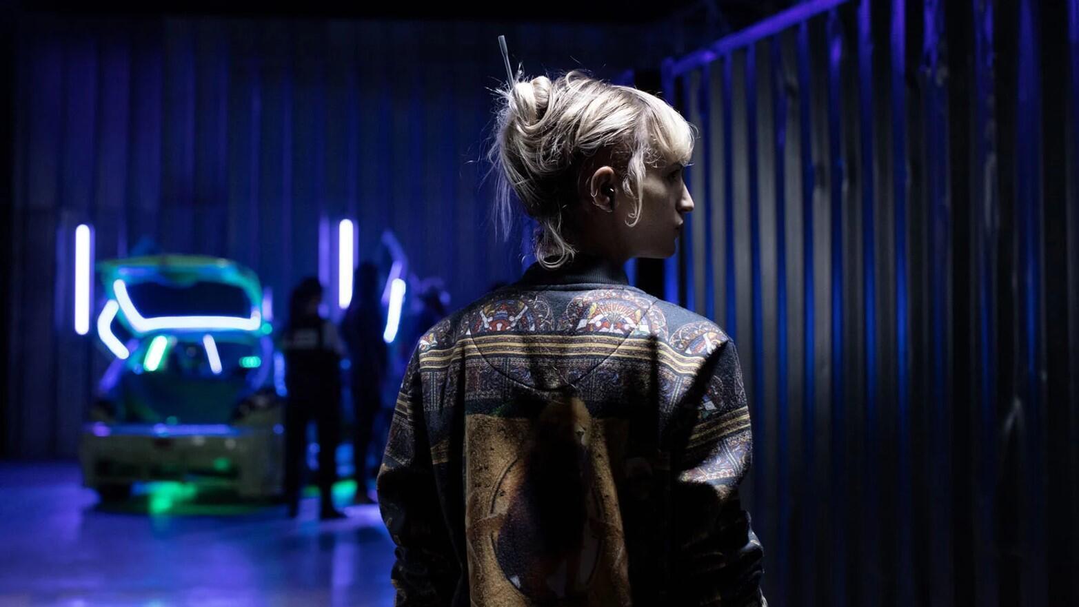 Alexia (Agathe Rousselle) dans « Titane » de Julia Ducournau, Palme d'or du Festival de Cannes 2021.  © Carole Bethuel