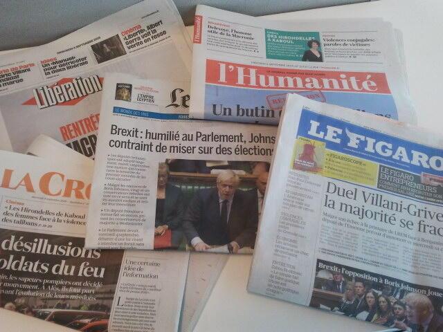 Primeiras páginas dos jornais franceses de 04 de setembro de 2019