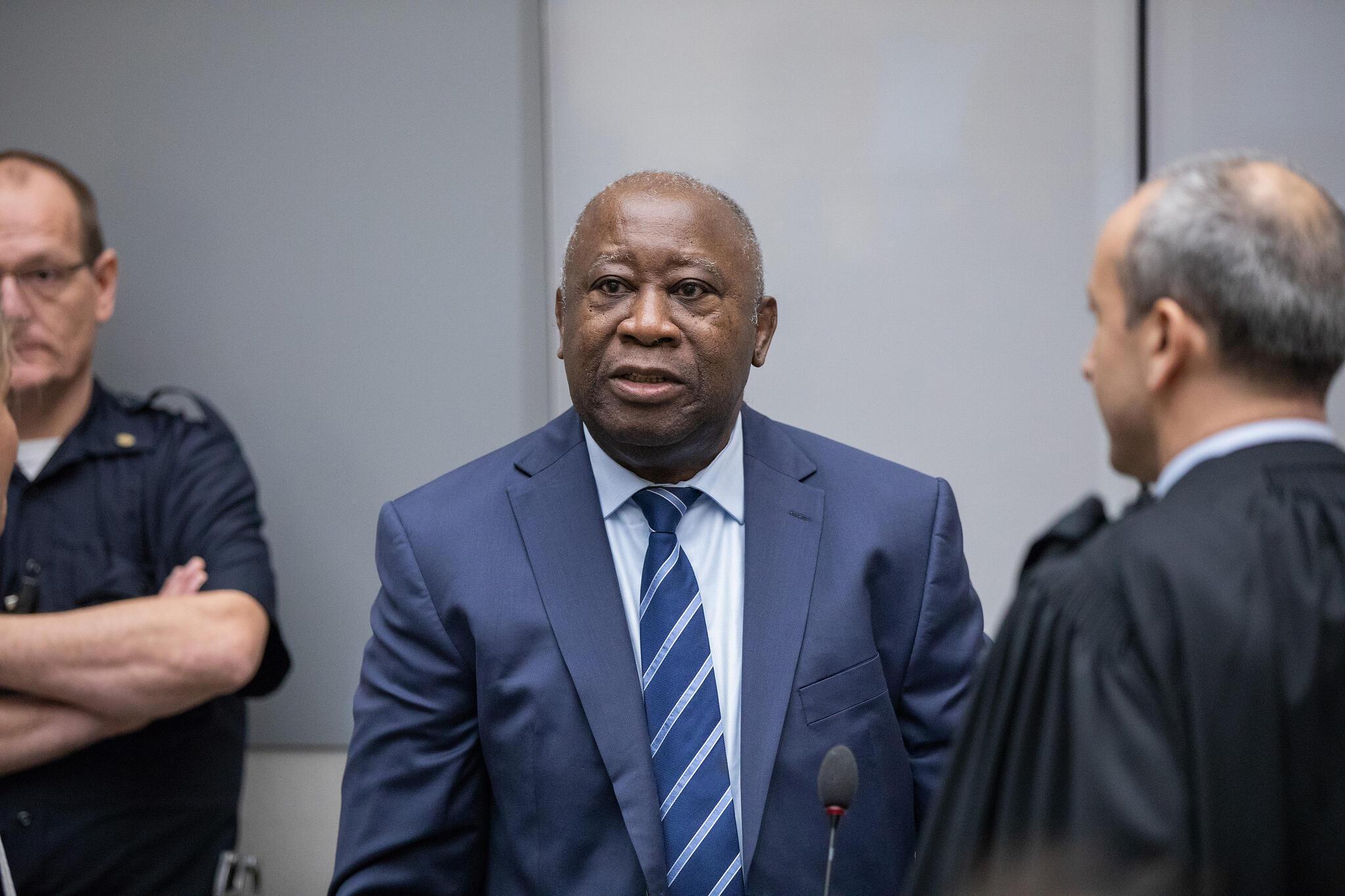 L'ancien président ivoirien Laurent Gbagbo et son avocat Emmanuel Altit à la Cour pénale internationale, le 15 janvier 2019.