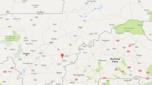 Koutiala est une ville de l'est du Mali, à quelques kilomètres de la frontière avec le Burkina Faso (capture d'écran Google Map)