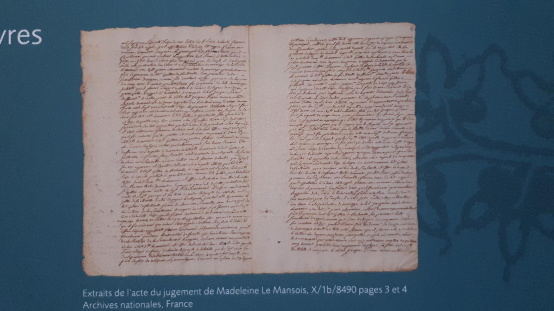 Trích lục phán quyết của Nghị Viện Paris cho phép cô Madeleine de Mansois được kết hôn với vị hôn phu cô chọn.
