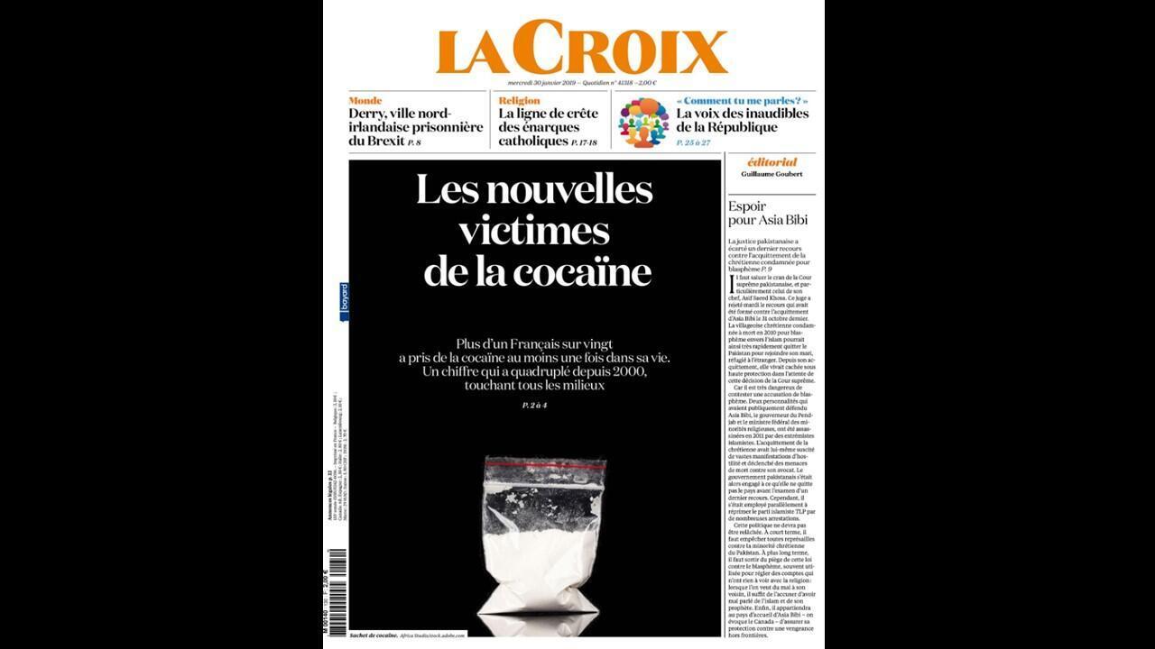 Capa do jornal La Croix desta quarta-feira destaca o consumo da cocaína na França, 30/01/2019