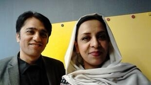 Afghan film director Roya Sadat with screenwriter, actor and producer Aziz Dildar at the 24th International Festival of Asian Cinema in Vesoul.