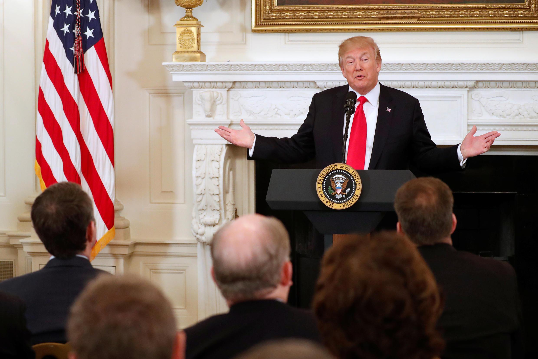 Tổng thống Mỹ Donald Trump trong buổi họp với thống đốc các bang về tình hình an ninh học đường tại Nhà Trắng, Washington, ngày 26/02/2018.