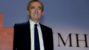 El presidente del grupo LVMH, Bernard Arnault, presenta los resuñtados en 2019 el 28 de enero de 2020 en París