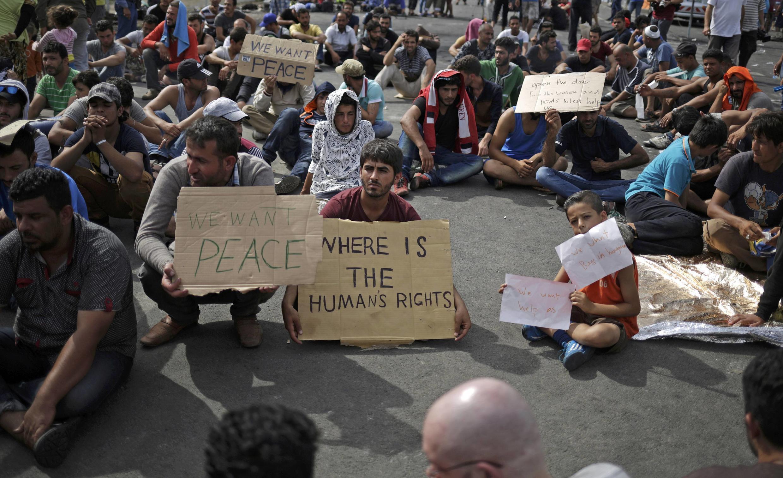 Migrantes protestam na fronteira entre Sérvia e Hungria