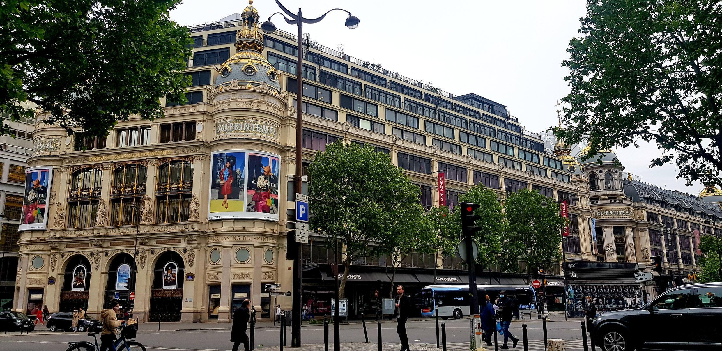 It is strangely quiet outside Le Printemps department store closed despite easing of lockdown on 11 May 2020.
