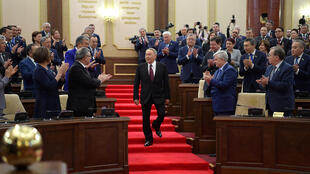 Former president Nursultan Nazarbayev at the swearing-in ceremony of Kassym-Jomart Tokayev yesterday in Astana.