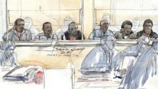 Un croquis des 6 Somaliens agés de 21 à 35 ans, au Palais de justice de Paris, le 16 novembre 2011. Ils sont accusés de détournement, d'enlèvement et de vol à main armée et se seraient emparés du yacht et de l'équipagé du «Le Carré d'as».