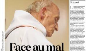 Портрет убитого террористами отца Жака Амеля на первой полосе католической газеты La Croix, 27 июля 2016
