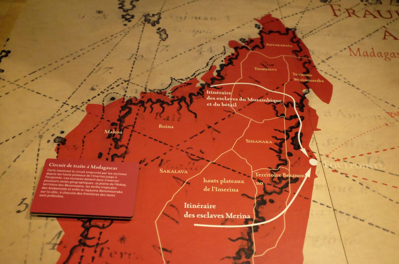 « Le circuit de traite à Madgascar » dans l'exposition « Tromelin, l'île des esclaves oubliés ».