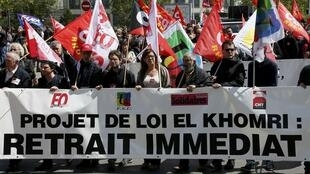 Sindicatos pidiendo el retiro de la ley El Khomri, el 28 de abril de 2016 en Lyon, Francia.
