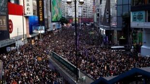 圖為世界人權日香港民眾2019年12月8日反送中示威
