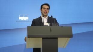 Alexis Tsipras, chefe do partido de esquerda radical Syriza, no Parlamento em Atenas.