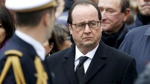President Hollande pays tribute to Charlie Hebdo victims, Paris,  10 January 2016